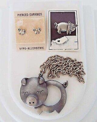 4 Pc Set Vintage Pig Jewelry Pewter Pin Large Pendant Necklace Earrings Lot C