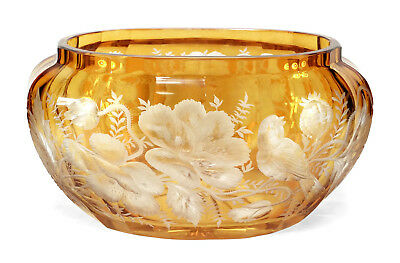 Detailed Old Amber Cut To Clear Engraved Bohemian Art Glass Vase Flowers Birds