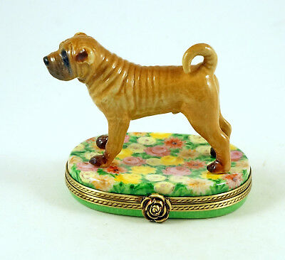 New French Limoges Trinket Box Cute Shar Pei Dog Puppy On Chrysanthemum Flowers