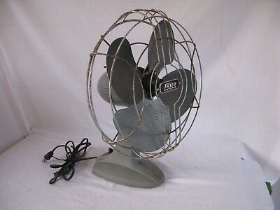 Antique Fasco Arctic Aire Art Deco 12 inch Table Fan Silver Grey USA WORKS!