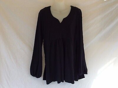 Sonoma Black Vintage Style blouse Large 100% cotton tunic style for women.