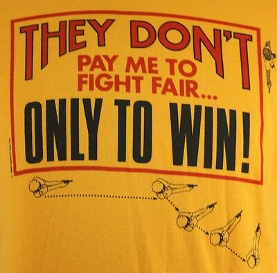 Large Vintage Police Officer Yellow T Shirt Law Enforcement Cop Fight Fair Win