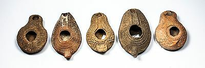 Set of Ancient Holy Land Oil Lamps