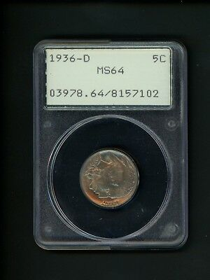 1936-D US Buffalo Nickel 5c .05 PCGS MS64 UNC Choice Uncirculated Old Rattler