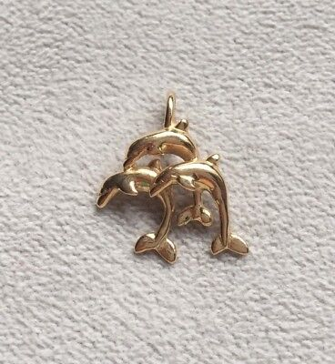 Dolphins Pendant, Solid 14 Kt Gold, 1.9 Grams
