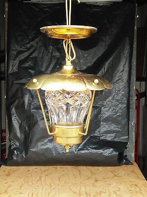 Vtg Mid Century Brass Porch Ceiling Light Fixture Heavy Glass