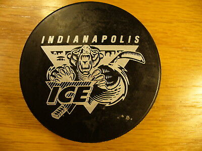 IHL Indianapolis Ice Silver Die Cut Official Team Logo Hockey Puck Collect Pucks