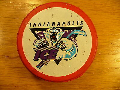 IHL Indianapolis Ice '96 Valentine's Day Logo Red Slug Hockey Puck Collect Pucks