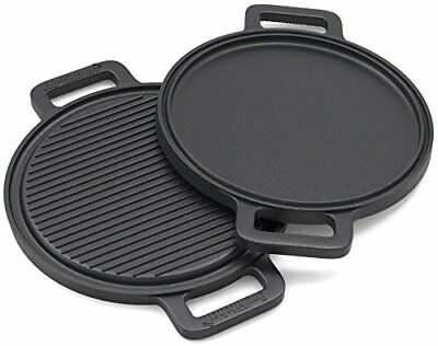Pre-Seasoned Two-Sided Cast Iron Pizza Stone Griddle Cooking Grill Pan 13.5 Inch