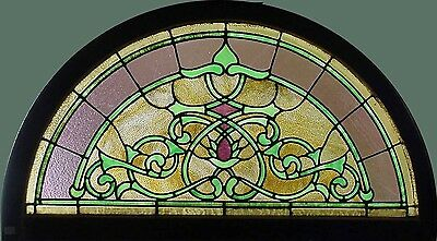 Antique American Arched Stained Glass Transom