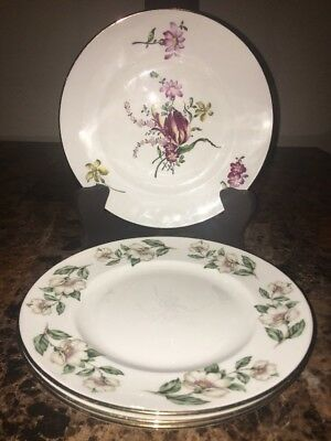CROWN STAFFORDSHIRE ~ Fine Bone China (4) Salad Plates - Made in England
