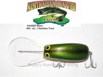 Australian Crafted Lures- cod 90mm invader Rainbow trout col;3  40ft a.c.lures