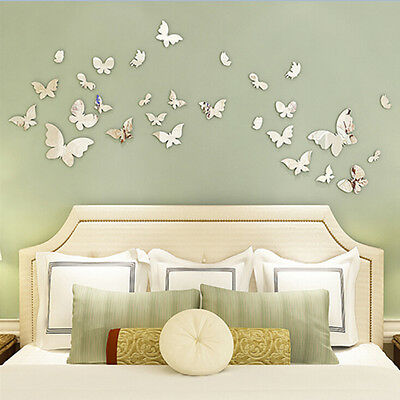 Espejo de pared de plata arte pared pegatinas calcomanía 3D mariposa Home Decor