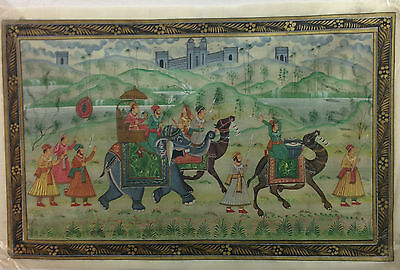 Antique Indian Handmade Mughal King Sawari Painting on Silk Cloth King Art