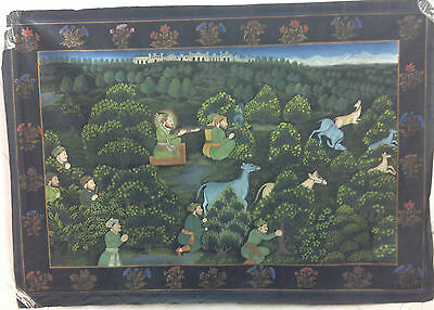 Antique Indian Handmade Mughal King Hunting Painting on Silk Cloth King Art