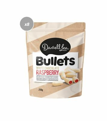 907809 8 x 200g DARRELL LEA WHITE CHOCOLATE RASPBERRY COATED LIQUORICE BULLETS