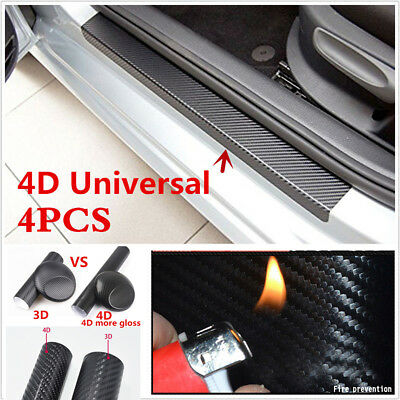 4x Car Door Plate Sill Scuff Welcome Pedal Protect 4D Carbon Fiber Grain Sticker
