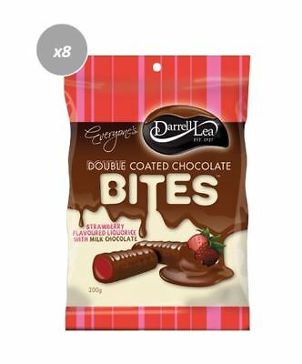 903333 8 x 200g BAGS OF DARRELL LEA DOUBLE COATED CHOCOLATE STRAWBERRY BITES AUS