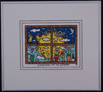 James Rizzi Looking out my window - Farblithografie gerahmtes Bild