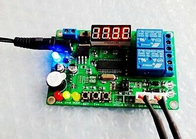 -45℃~125℃ 5V-24V 2-CH Digital Temperature Difference Controller Relay + 2 Sensor