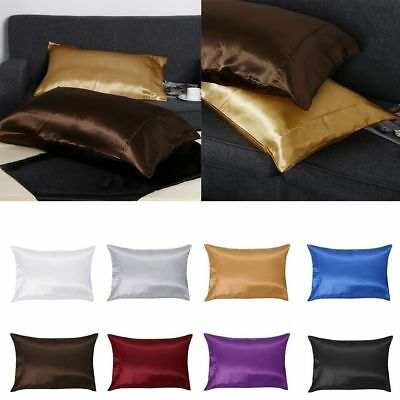 2Pcs Silk Blend Pillow Case Cover Housewife Queen Housewife Standard Solid Color