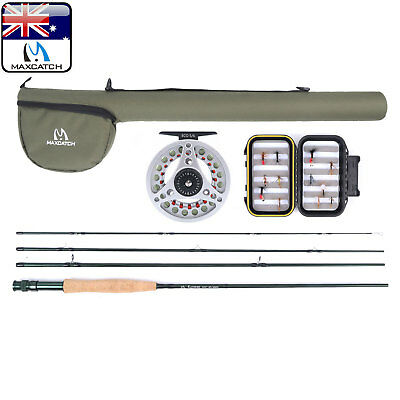 Maxcatch 8WT Extreme Fly Fishing Combo 9FT Fly Rod, Reel, Line, Box,Flies Outfit