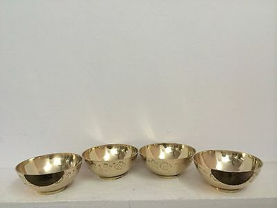 Set of 4 Antique Floral Design Brass Bowls Dinner Ware Dish Table top