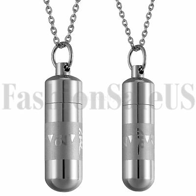 Stainless Steel His and Hers Lovers Matching Perfume Bottle Pendant Necklace New