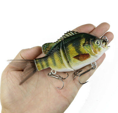 5 inch Jointed Bluegill Glider Swimbait Bass Pike Fishing Lure Crankbait Rattle