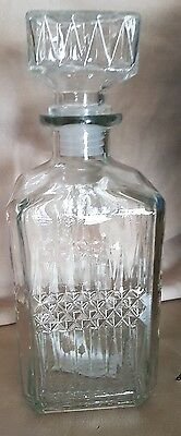 1L Glass Decanter Whisky Sherry Liquer Cut Glass Drinks Brandy .