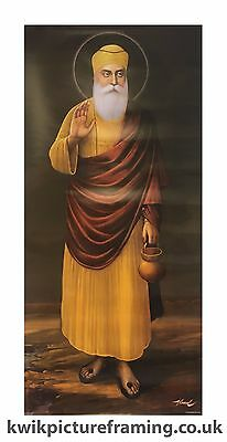 "Guru Nanak Dev Ji Original Full Length Picture  Picture Photo Framed - 28"" x 13"""