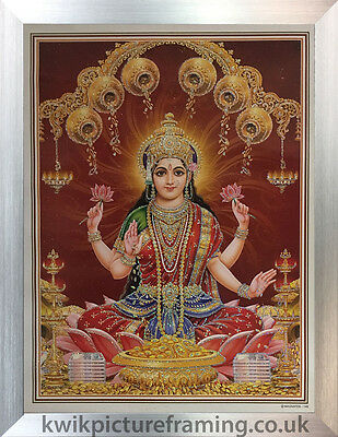 "Lakshmi Money Goddess Picture Photo Framed - 20"" x 14""  Inches 