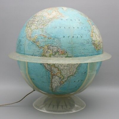 """Vintage 1965 Lighted 16"""" National Geographic World Globe Acrylic Stand Earth"""