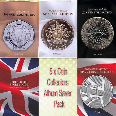 2019 5 x ALBUM BUNDLE GREAT BRITISH COIN HUNT COLLECTION £2 £1 50P OLYMPIC 10P