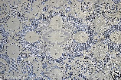 Vintage~Mixed Lace looks to have hand? stitching  XXL Banquet Tablecloth~68x170