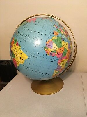 "Rand McNally 16"" Simplified Political World Globe on Spinning Metal Base *Rare*"