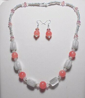 """Necklace + earrings, cats-eye beads, white + pink 20.5"""""""
