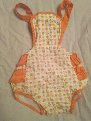 Vintage Baby Girl Yellow Orange Ruffled Romper Sunsuit Childrens Clothes Outfit