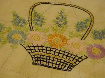Antique Vintage Embroidered Runner Linen Lilacs & Posies in Basket FRENCH KNOTS