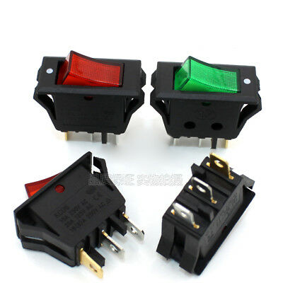 Red Green illuminated Rectangle Rocker Switch On-Off 3Pin 16A 250V SPDT Boat Car
