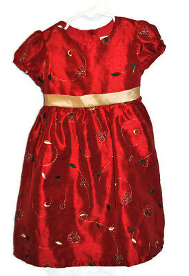 GEORGE Girls Short Sleeve Holiday Christmas Red Party Dress Sz 4T