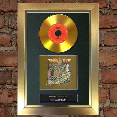 GOLD DISC AEROSMITH Signed CD Mounted Repro Autograph Print A4 130