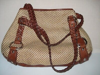 74e81f937297 Banana Republic Woven Straw Lrg Tote Shoulder Bag Brown Leather Braided  Straps