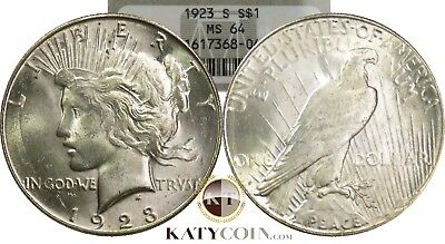 1923-S NGC MS 64 Silver Liberty PEACE Dollar $1 US Coin Item #15301A