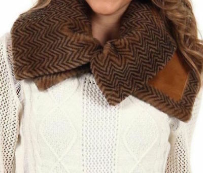 a1c5c920f0c UGG SCARF UPTOWN Snood Chestnut Sheepskin Herringbone Shearling NEW $275
