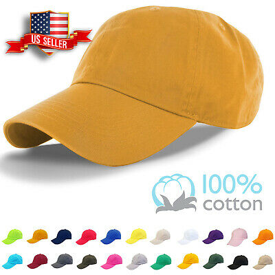 Baseball Cap Plain Mens Cotton Adjustable Solid Dad Hat Polo Style Washed Visor