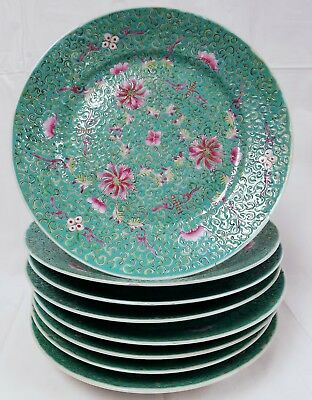 Set of 8 Vintage Chinese Green & Pink Plates