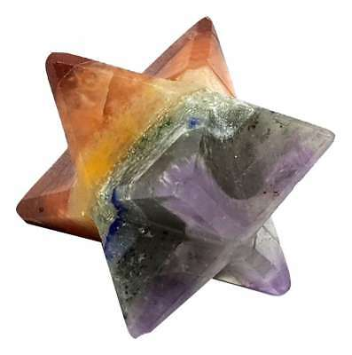 Reiki Energy Charged 7 Seven Chakra Bonded Merkaba Star Large Gemstone Crystals