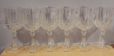 6 CRISTAL D'ARQUES LONGCHAMP CRYSTAL WINE GLASSES 8 oz WATER GOBLETS