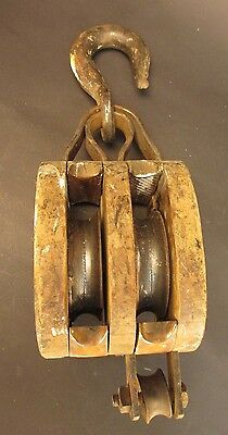 Antique Anvil Brand Wood Double Pulley Block & Tackle